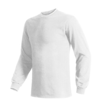 Hanes Beefy T-Shirt - Long Sleeve (For Men and Women) in White