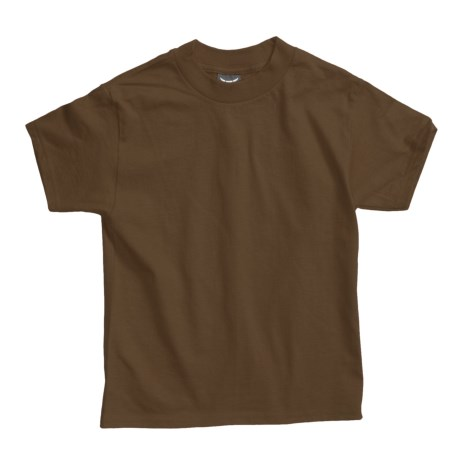 Hanes Beefy T-Shirt - Short Sleeve (For Youth) in Medium Brown