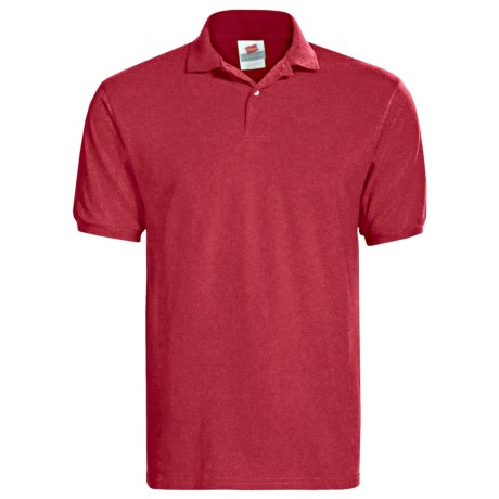 Hanes Blended Jersey Polo Shirt - Short Sleeve (For Men and Women) in Light Grey Heather