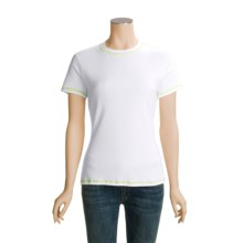 Hanes Combed Cotton T-Shirt - Short Sleeve (For Women) in White/Lime - Closeouts