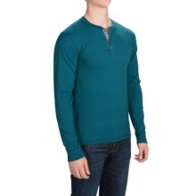 Hanes ComfortBlend Henley Shirt - Long Sleeve (For Men and Big Men) in Blue Green - 2nds