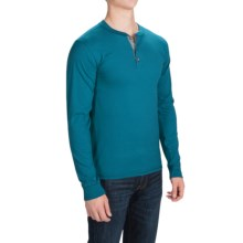 Hanes ComfortBlend Henley Shirt - Long Sleeve (For Men and Big Men) in Teal - 2nds