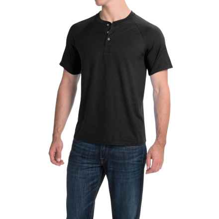 Hanes ComfortBlend® Henley Shirt - Short Sleeve (For Men and Women) in Black - 2nds