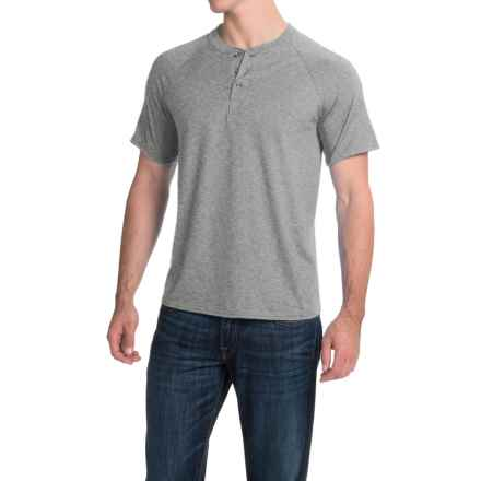 Hanes ComfortBlend® Henley Shirt - Short Sleeve (For Men and Women) in Grey Heather - 2nds