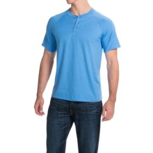 Hanes ComfortBlend® Henley Shirt - Short Sleeve (For Men and Women) in Medium Blue - 2nds