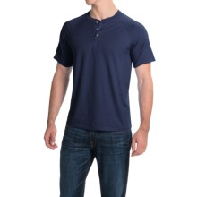 Hanes ComfortBlend® Henley Shirt - Short Sleeve (For Men and Women) in Navy - 2nds