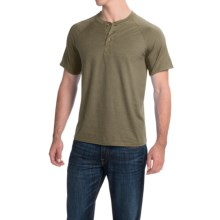 Hanes ComfortBlend® Henley Shirt - Short Sleeve (For Men and Women) in Olive Heather - 2nds