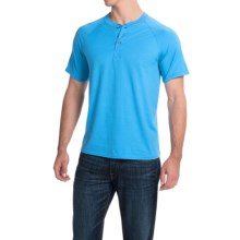 Hanes ComfortBlend® Henley Shirt - Short Sleeve (For Men and Women) in Turquoise - 2nds