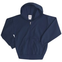 Hanes ComfortBlend® Hoodie Sweatshirt - Full-Zip (For Youth) in Dark Blue - 2nds