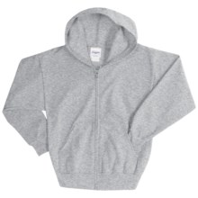 Hanes ComfortBlend® Hoodie Sweatshirt - Full-Zip (For Youth) in Grey Heather - 2nds