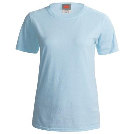 Hanes ComfortSoft Cotton T-Shirt - Short Sleeve (For Women) in Light Blue