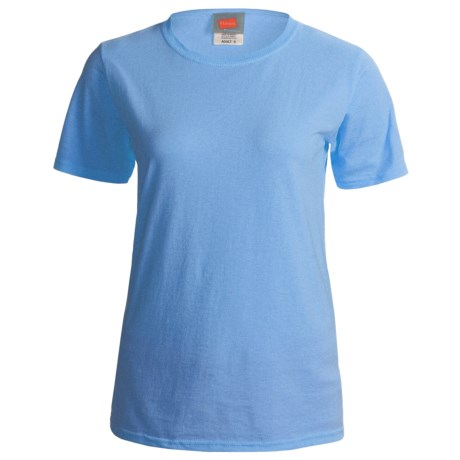 Hanes ComfortSoft Cotton T-Shirt - Short Sleeve (For Women) in Medium Blue