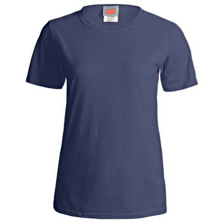 Hanes ComfortSoft Cotton T-Shirt - Short Sleeve (For Women) in Navy