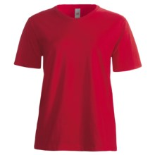 Hanes ComfortSoft T-Shirt - V-Neck, Short Sleeve (For Women) in Red - 2nds