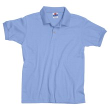 Hanes Cotton Blend Polo Shirt - Cotton Blend, Short Sleeve (For Youth) in Light Blue - 2nds