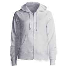 Hanes Cotton Fleece Hoodie Sweatshirt - Zip, Raglan Sleeve - 7.5 oz (For Women) in Grey Heather - 2nds