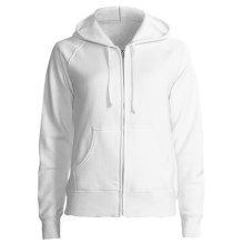 Hanes Cotton Fleece Hoodie Sweatshirt - Zip, Raglan Sleeve - 7.5 oz (For Women) in White - 2nds