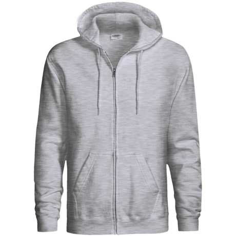 Hanes Cotton-Rich 9 OZ Fleece Hoodie - Full-Zip (For Men and Women) in White