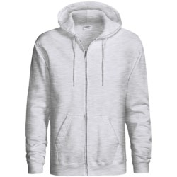 Hanes Cotton-Rich 9 OZ Fleece Hoodie - Full-Zip (For Men and Women) in Light Grey Heather