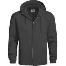 Hanes Cotton-Rich 9 OZ Fleece Hoodie Sweatshirt - Full-Zip (For Men and Women) in Black - 2nds