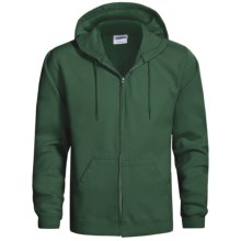 Hanes Cotton-Rich 9 OZ Fleece Hoodie Sweatshirt - Full-Zip (For Men and Women) in Dark Green - 2nds