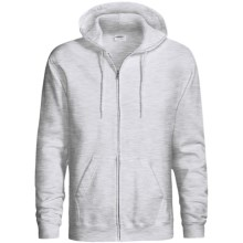 Hanes Cotton-Rich 9 OZ Fleece Hoodie Sweatshirt - Full-Zip (For Men and Women) in Light Grey Heather - 2nds
