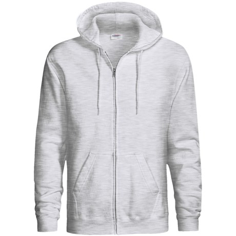 Hanes Cotton-Rich 9 OZ Fleece Hoodie Sweatshirt - Full-Zip (For Men and Women) in White