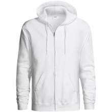 Hanes Cotton-Rich 9 OZ Fleece Hoodie Sweatshirt - Full-Zip (For Men and Women) in White - 2nds