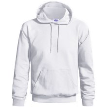 Hanes Cotton-Rich 9 oz Hoodie - No Shrink, Pill Resistant (For Men and Women) in White - 2nds