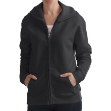 Hanes Cotton-Rich Hoodie Sweatshirt - Full Zip, 7.5 oz. (For Women) in Black - 2nds