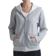 Hanes Cotton-Rich Hoodie Sweatshirt - Full Zip, 7.5 oz. (For Women) in Grey Heather - 2nds