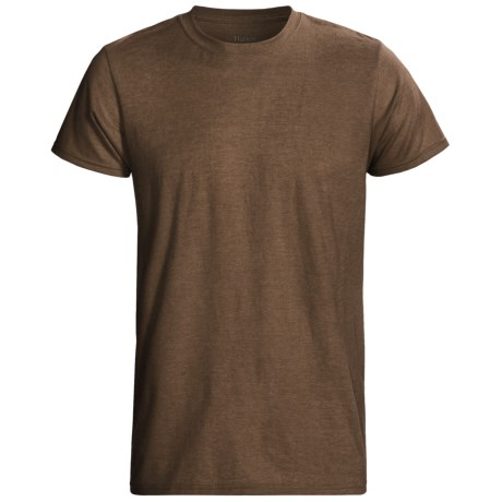 Hanes EcoSoft 50/50 T-Shirt - Modern Fit, Short Sleeve (For Men and Women) in Brown Heather