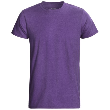 Hanes EcoSoft 50/50 T-Shirt - Modern Fit, Short Sleeve (For Men and Women) in Purple Heather