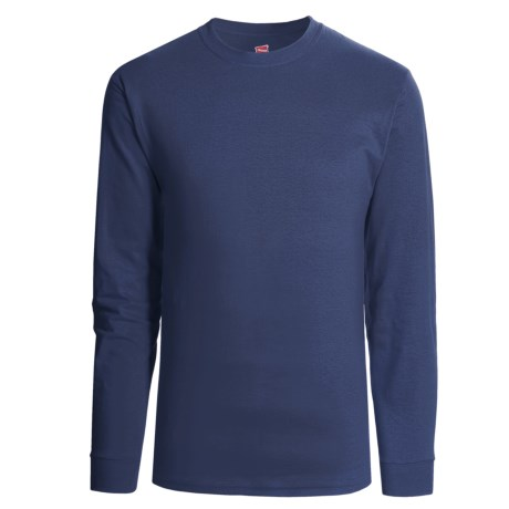 Hanes Heavyweight Cotton T-Shirt - Long Sleeve (For Men and Women) in Navy