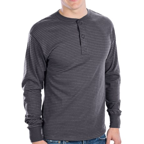 Hanes Henley T-Shirt - Cotton, Long Sleeve (For Men and Women) in Grey Stripe