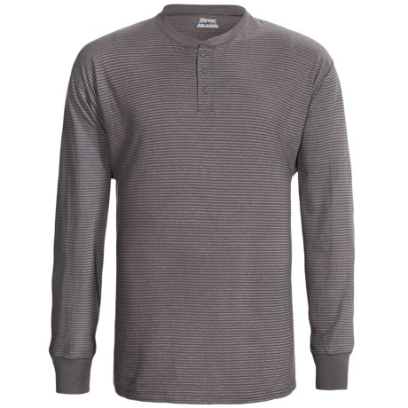 Hanes Henley T-Shirt - Cotton, Long Sleeve (For Men and Women)