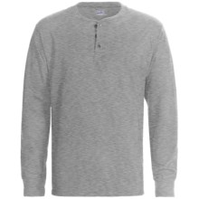 Hanes Henley T-Shirt - Cotton, Long Sleeve (For Men and Women) in Oxford Grey - 2nds