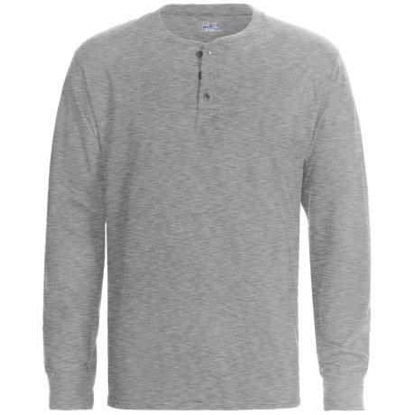 Hanes Henley T-Shirt - Cotton, Long Sleeve (For Men and Women) in Oxford Grey