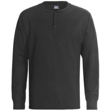 Hanes Henley T-Shirt - Cotton, Long Sleeve (For Men) in Black - 2nds