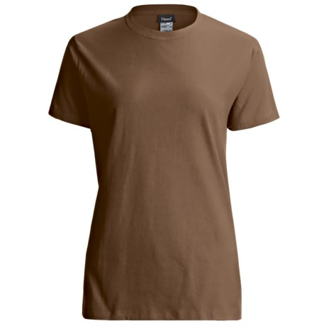 Hanes LightweightT-Shirt - Crew Neck, Short Sleeve (For Women) in Brown