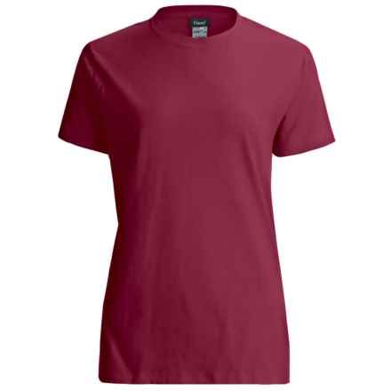 Hanes LightweightT-Shirt - Crew Neck, Short Sleeve (For Women) in Wine - 2nds