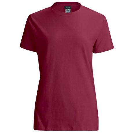 Hanes LightweightT-Shirt - Crew Neck, Short Sleeve (For Women) in Wine