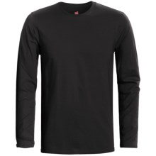 Hanes Nano-T® Cotton T-Shirt - Crew Neck, Long Sleeve (For Men and Women) in Black - 2nds