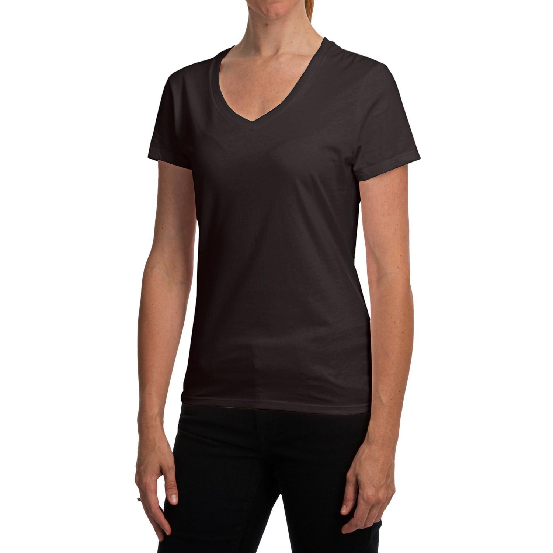 Hanes Nano T Shirt V Neck Short Sleeve For Women