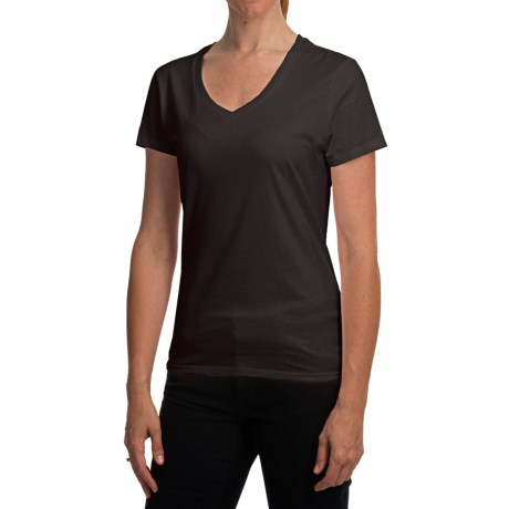 Hanes Nano T-Shirt - V-Neck, Short Sleeve (For Women) in Black