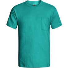 Hanes Open End Pocket T-Shirt - Cotton, Short Sleeve (For Men and Women) in Blue Green - 2nds