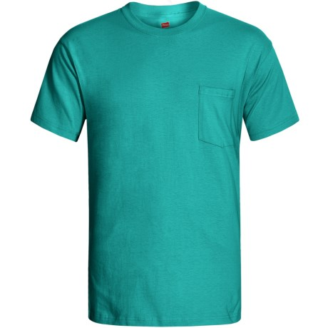 Hanes Open End Pocket T-Shirt - Cotton, Short Sleeve (For Men and Women) in Blue Green