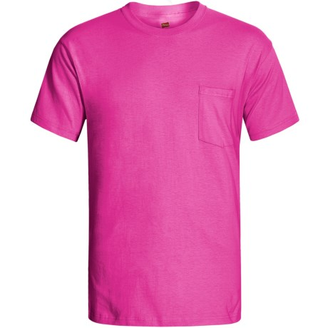 Hanes Open End Pocket T-Shirt - Cotton, Short Sleeve (For Men and Women) in Dark Pink