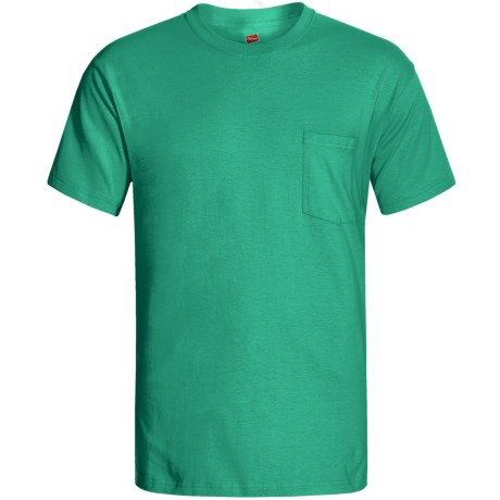 Hanes Open End Pocket T-Shirt - Cotton, Short Sleeve (For Men and Women) in Kelly Grn, Medm Grn, Shamrock Green