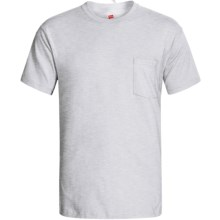 Hanes Open End Pocket T-Shirt - Cotton, Short Sleeve (For Men and Women) in Light Grey Heather - 2nds